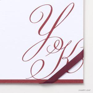 結婚式 招待状 Initial  レッド / リボン ワインレッド イメージ