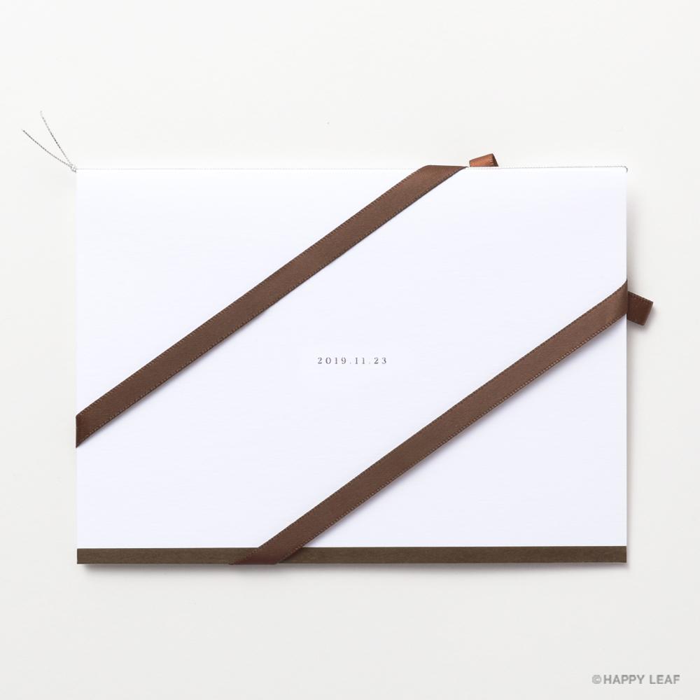 結婚式 招待状 Initial ブラウン / リボン ブラウン 3