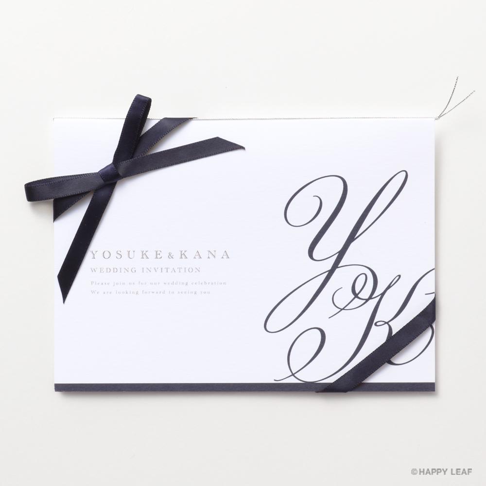 結婚式 招待状 Initial ネイビー / リボン ネイビー 1