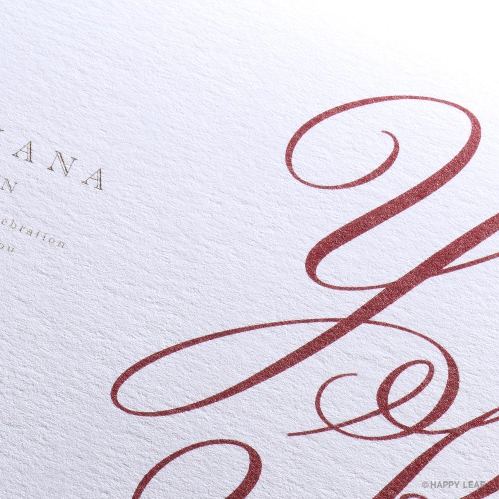 結婚式 招待状 Initial  レッド / リボン ワインレッド 2
