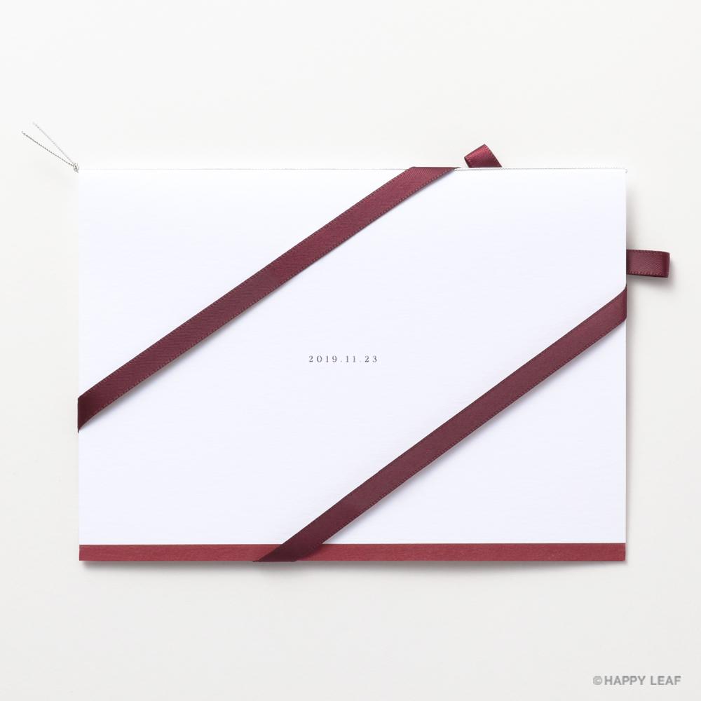結婚式 招待状 Initial  レッド / リボン ワインレッド 3