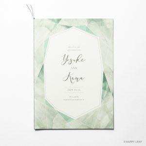 結婚式 招待状 quartz グリーン