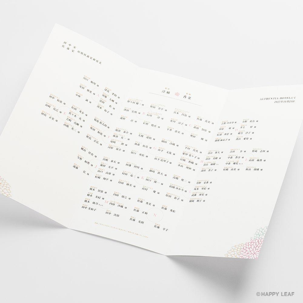 席次表 Dahlia ピンク 2