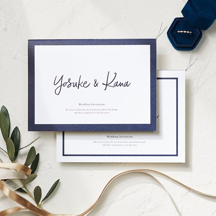 結婚式 招待状 Glassy ネイビー イメージ