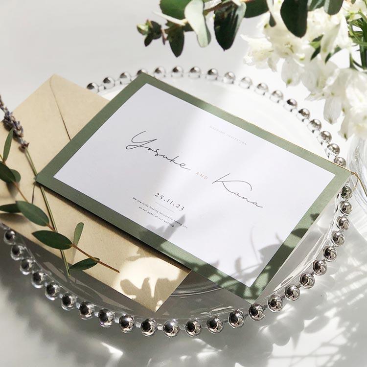 結婚式 招待状 Calme グリーン イメージ