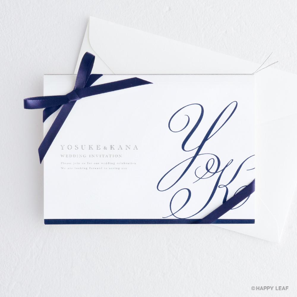 結婚式 招待状 Initial ネイビー / リボン ネイビー