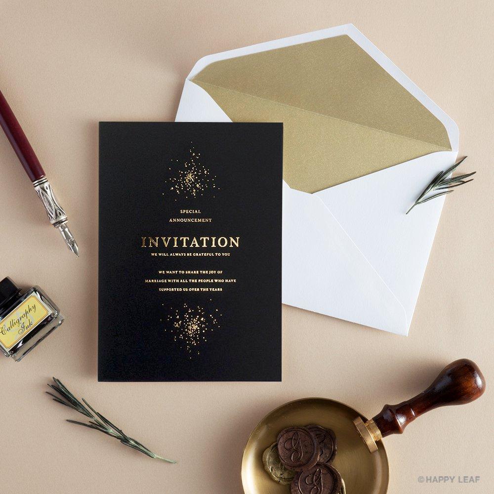 結婚式 招待状 Glanz ブラック 10