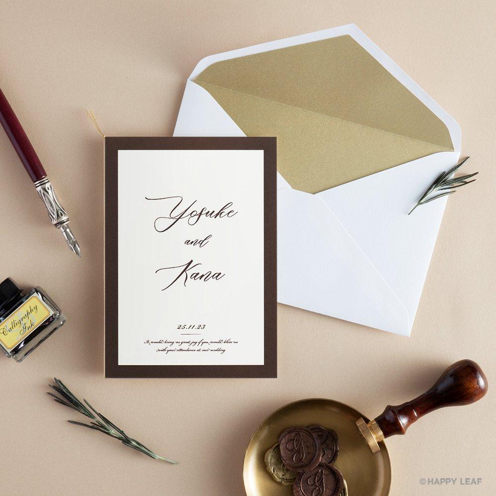 結婚式 招待状 Oak ブラウン 11