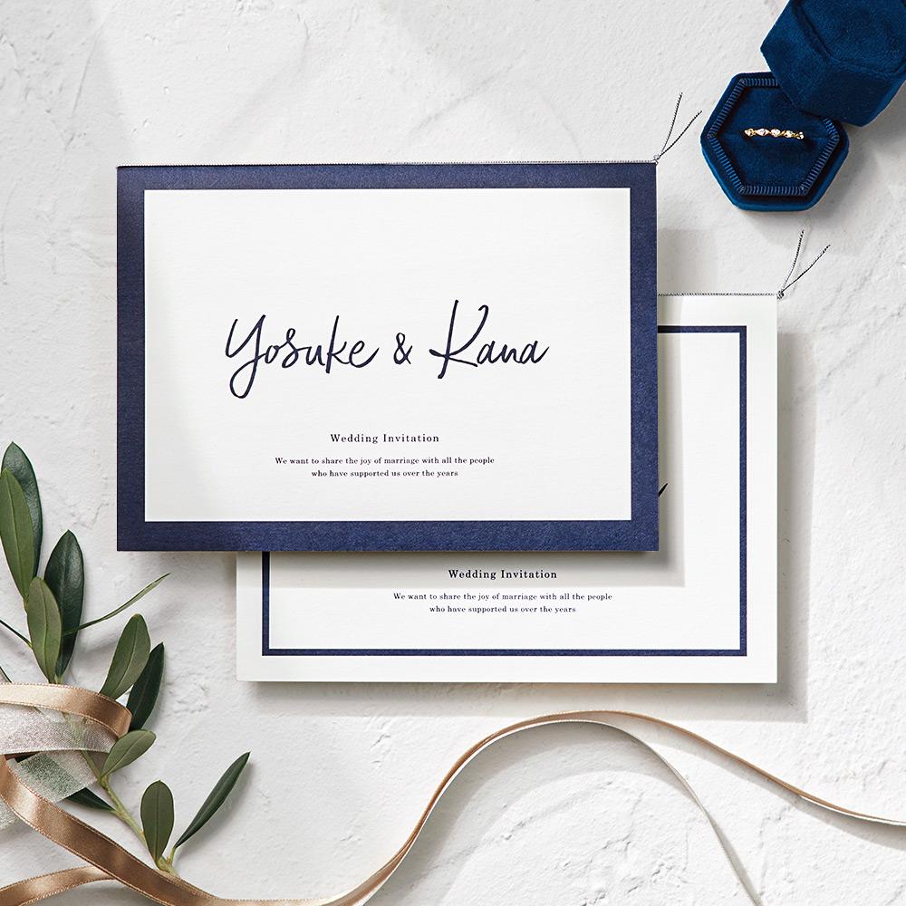 結婚式 招待状 Glassy ネイビー 1