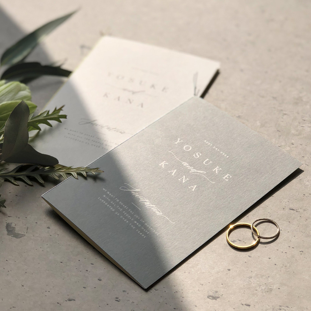 結婚式 招待状 soie グレー 1