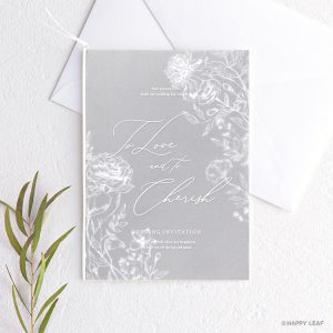 結婚式 招待状 aria グレー