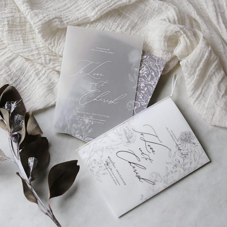 結婚式 招待状 aria グレー イメージ