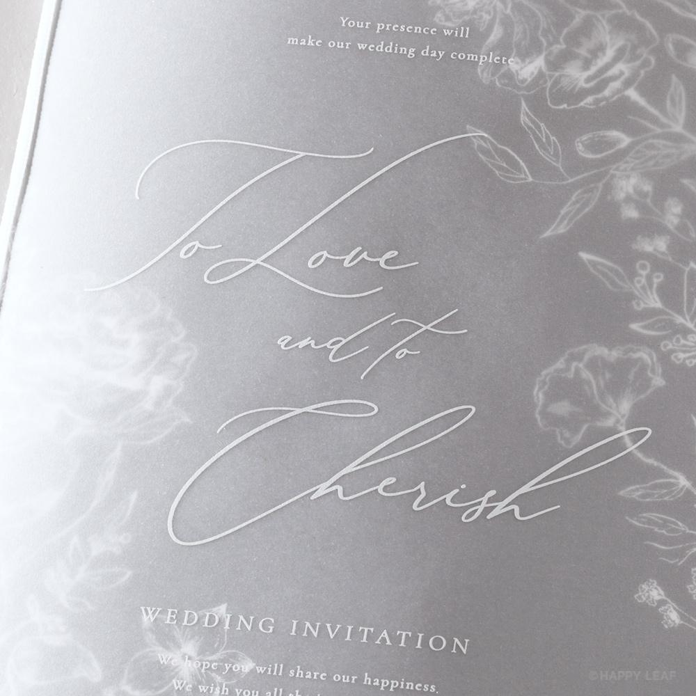 結婚式 招待状 aria グレー 3