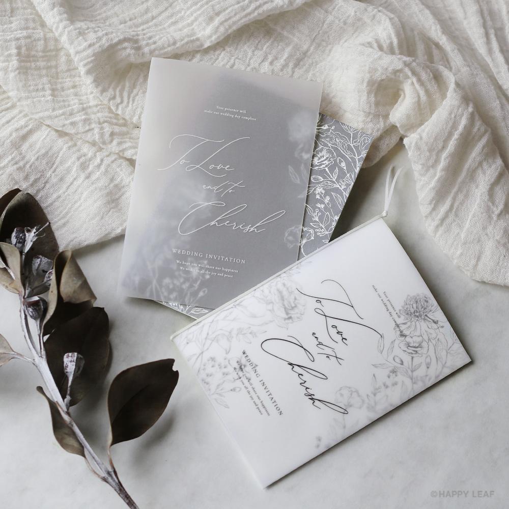 結婚式 招待状 aria グレー 1