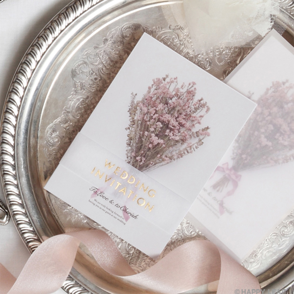 結婚式 招待状 ライスフラワー 1