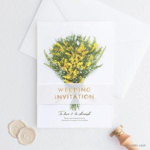 結婚式 招待状 ミモザ