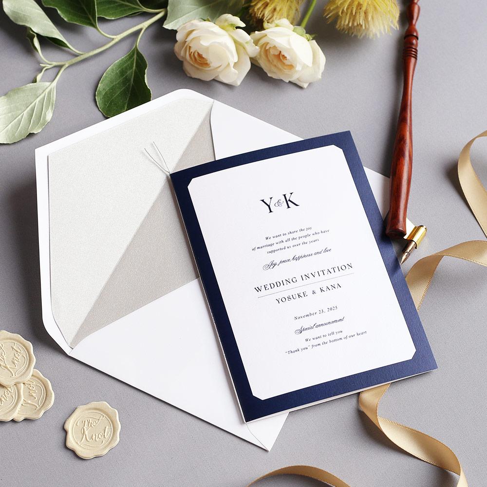 結婚式 招待状 Sylph ネイビー 1