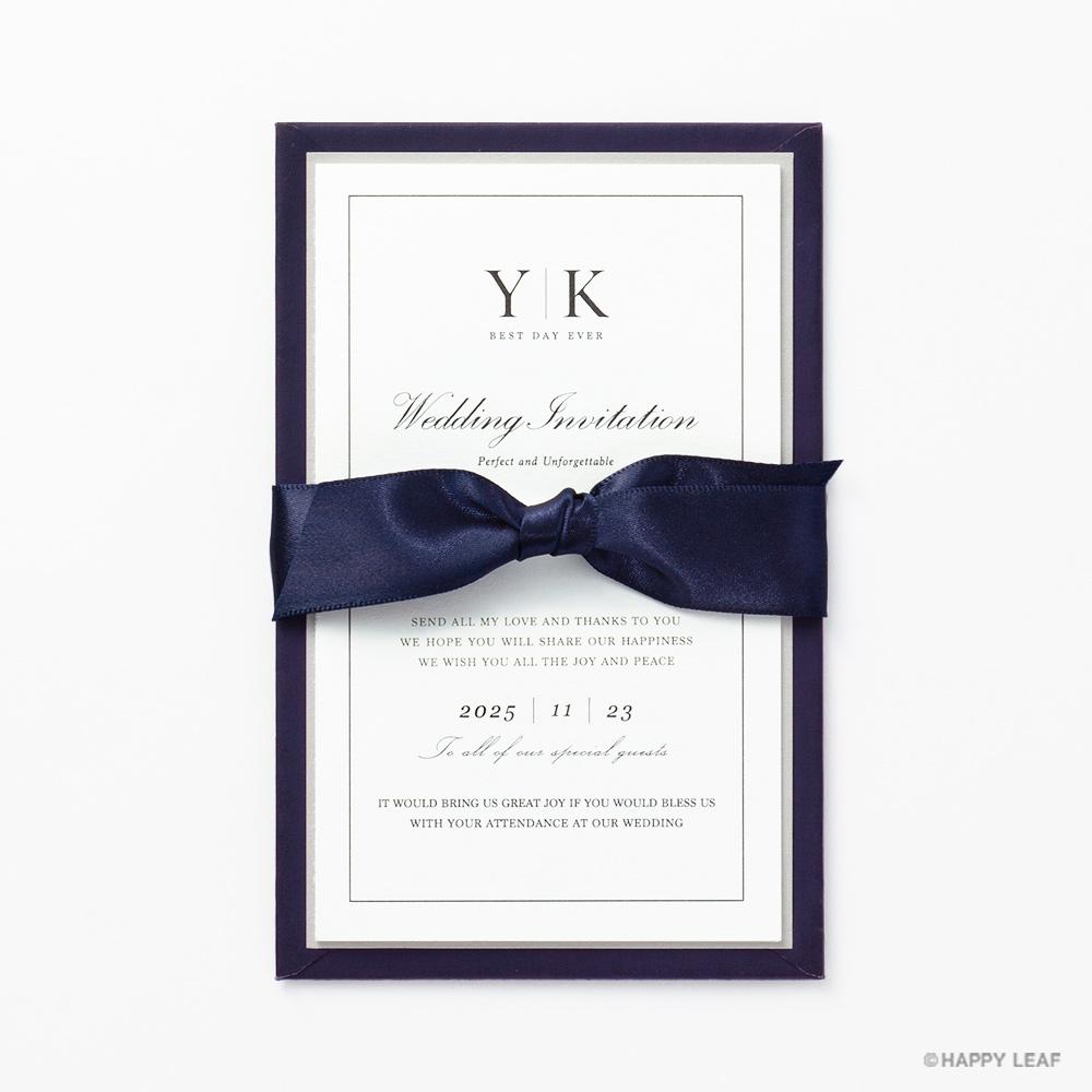 結婚式 招待状 Manoir ネイビー 1