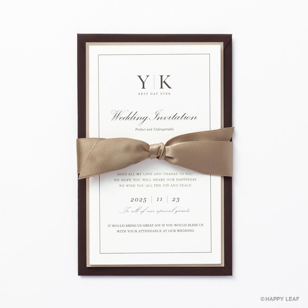 結婚式 招待状 Manoir ブラウン 1