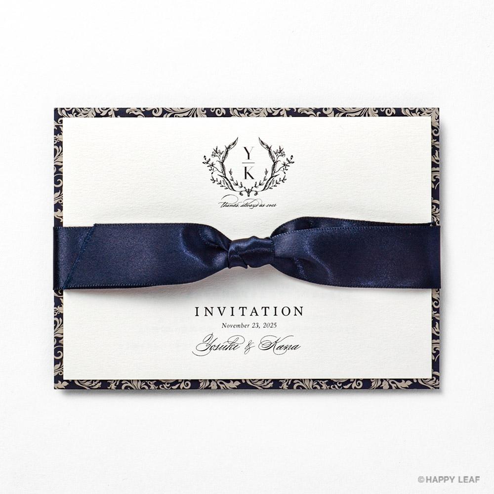 結婚式 招待状 Jardin ネイビー 1