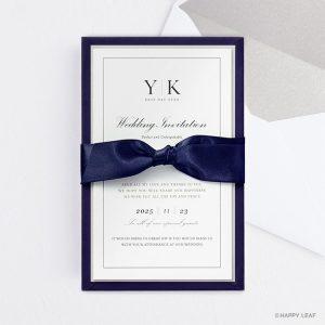 結婚式 招待状 Manoir ネイビー