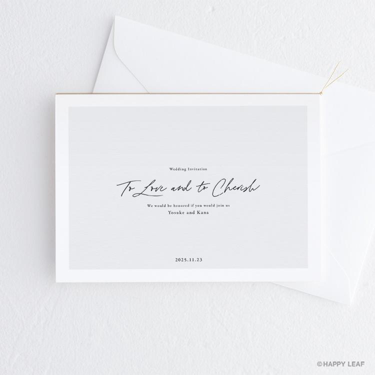 結婚式 招待状 nino グレー フレーム