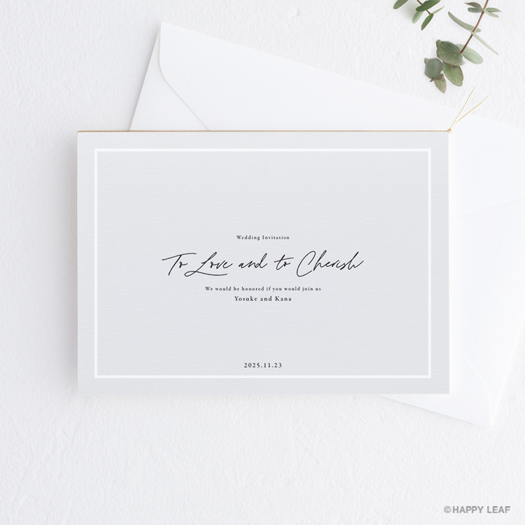 結婚式 招待状 nino グレー ライン