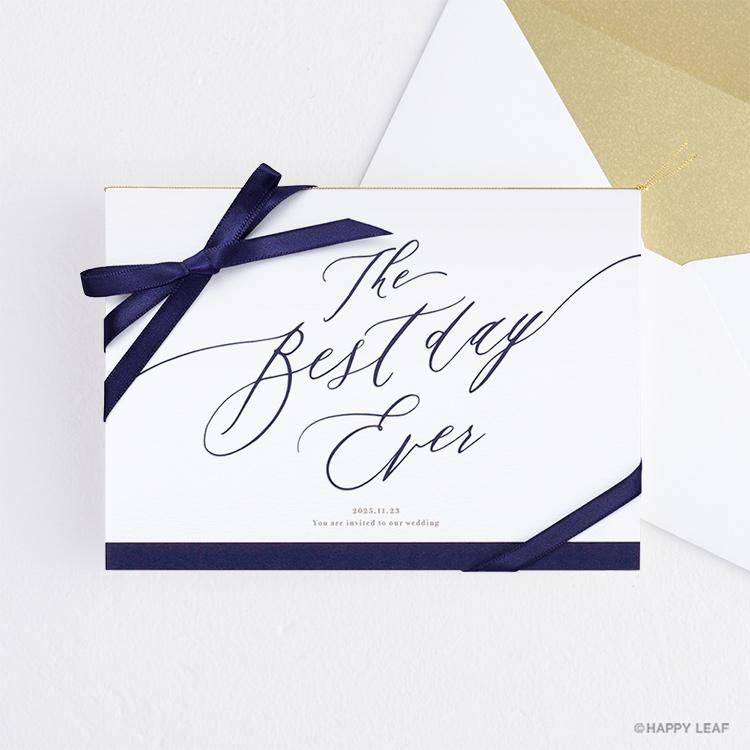 結婚式 招待状 Bell ネイビー / リボン ネイビー
