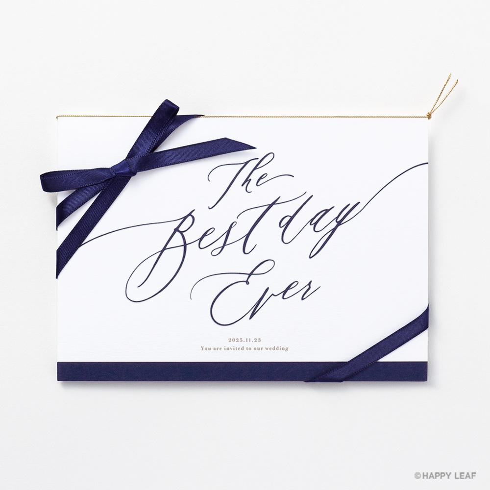 結婚式 招待状 Bell ネイビー / リボン ネイビー 2