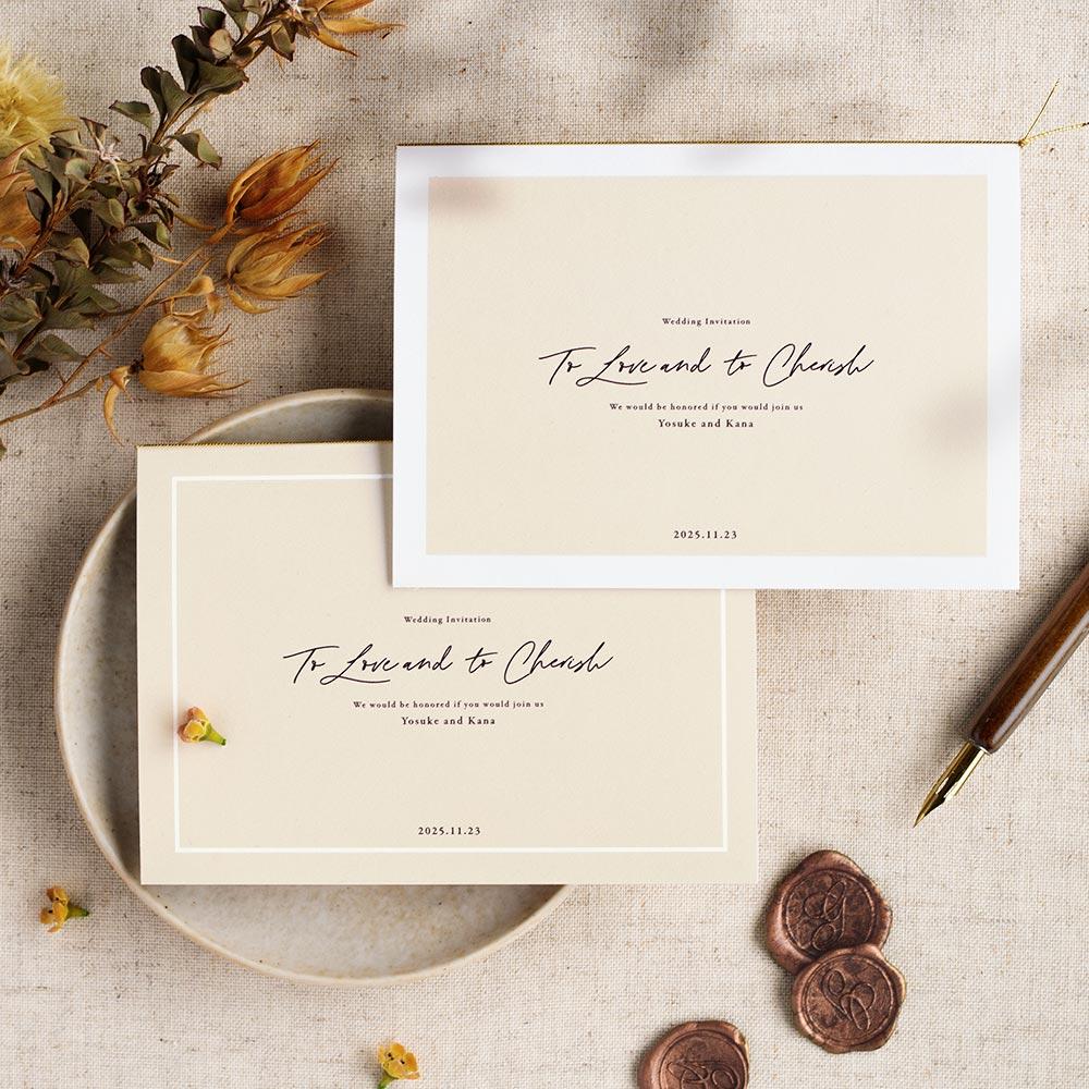 結婚式 招待状 nino アイボリー ライン 1