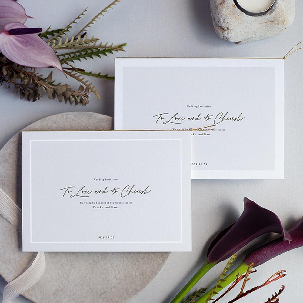 結婚式 招待状 nino グレー フレーム 1