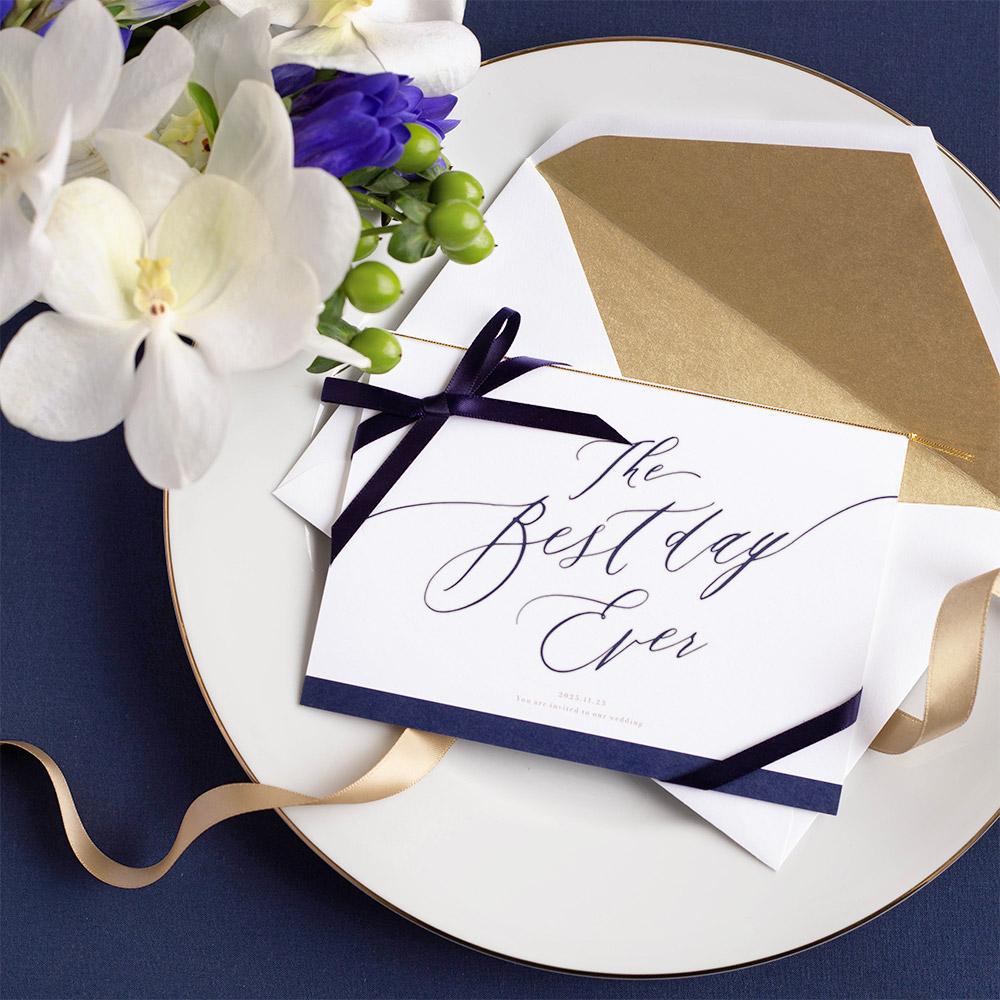 結婚式 招待状 Bell ネイビー / リボン ネイビー 1