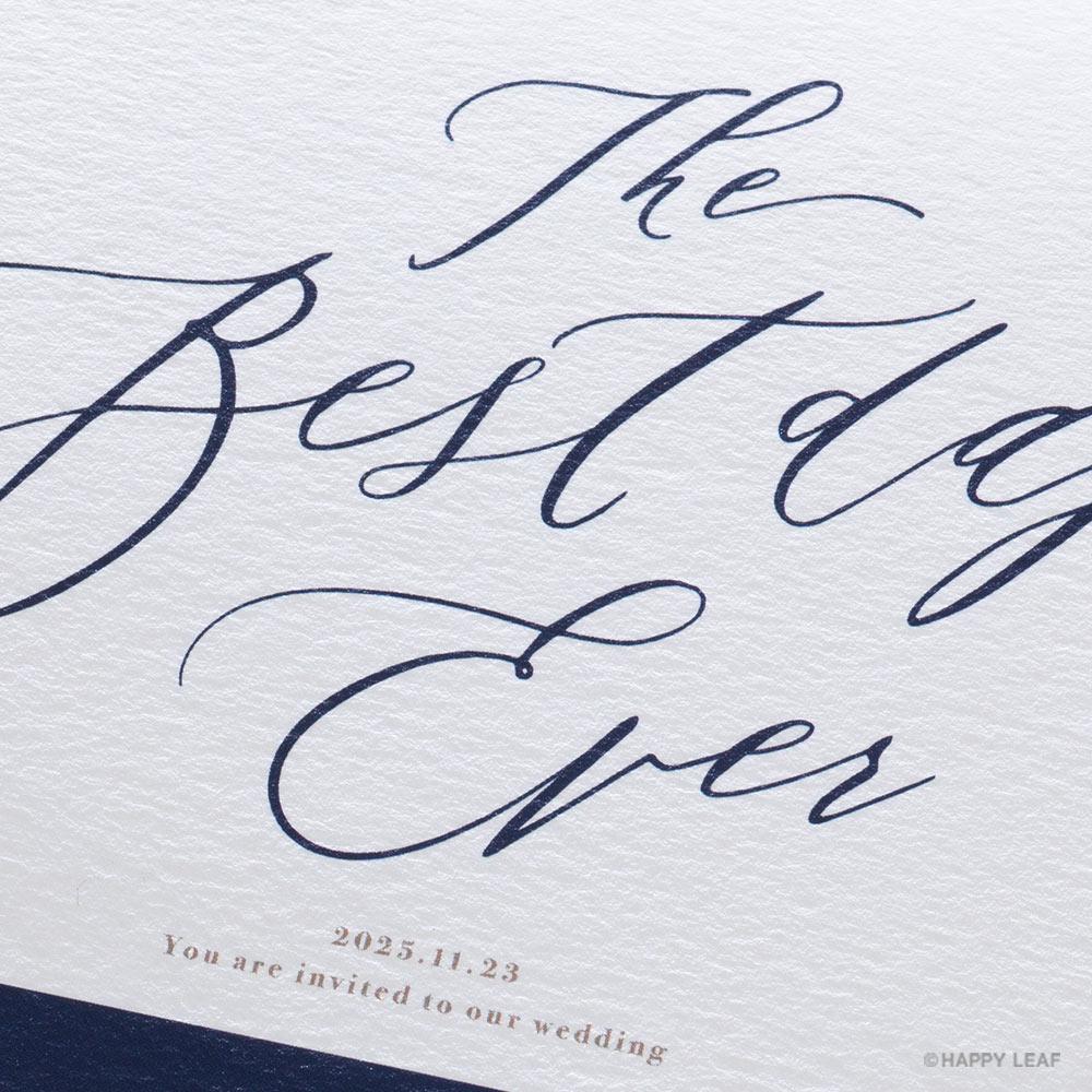 結婚式 招待状 Bell ネイビー / リボン ネイビー 3