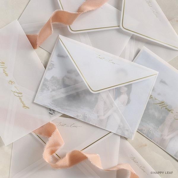 DIY専門店 and CRAFT から新作トレーシングペーパー封筒&料金別納シールリリース!海外ウエディングのような招待状に☆