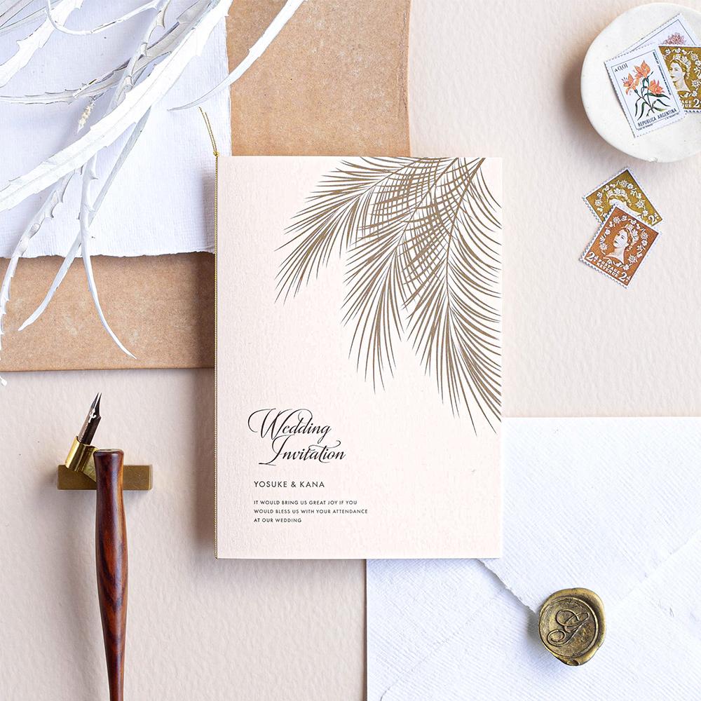 結婚式 招待状 Palm コーラル 1