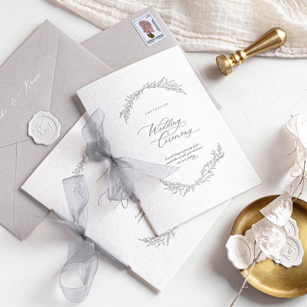 結婚式 招待状 charme グレー 1