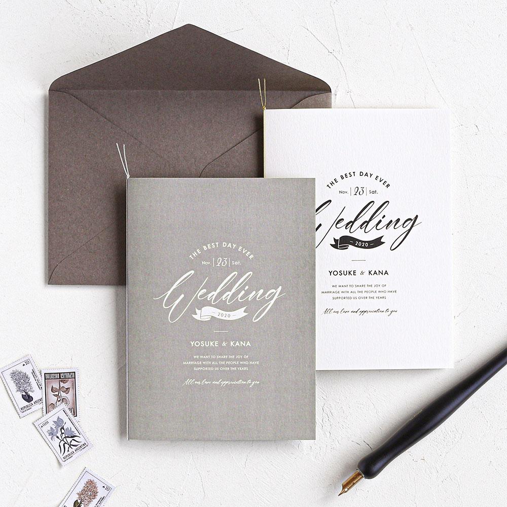結婚式 招待状 brio グレー 1