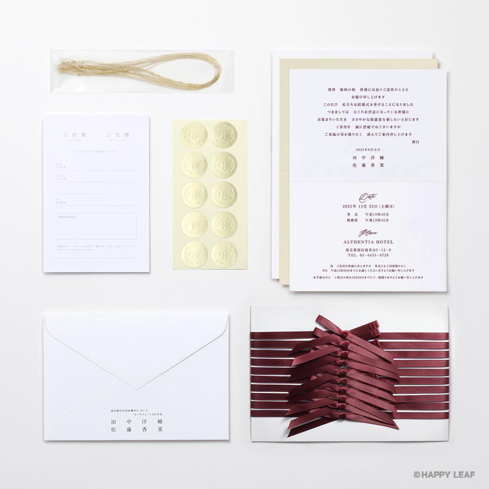 結婚式 招待状 Bell レッド / リボン レッド 10