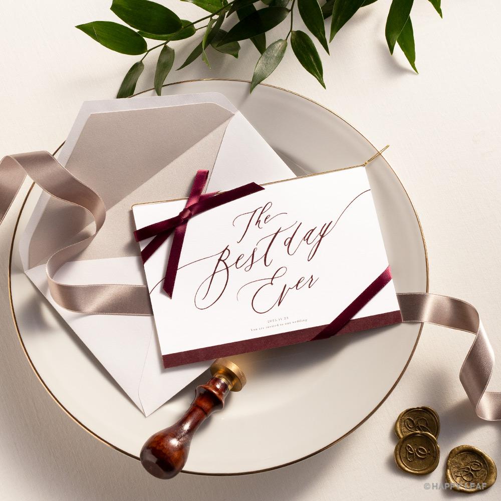 結婚式 招待状 Bell レッド / リボン レッド 1