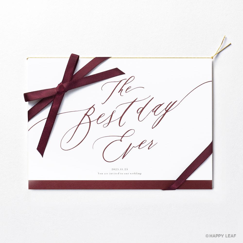 結婚式 招待状 Bell レッド / リボン レッド 2