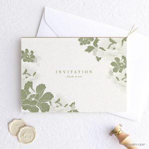 結婚式 招待状 芍薬 松葉