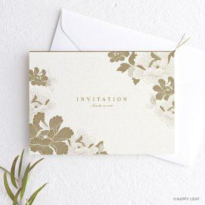 結婚式 招待状 芍薬 黄金